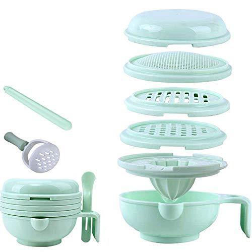 WINGOFFLY 7 in 1 Food Masher Maker Portable Baby Feeder Food Processor Smasher Serve Bowl Vegetables Fruit Ricer Grinder