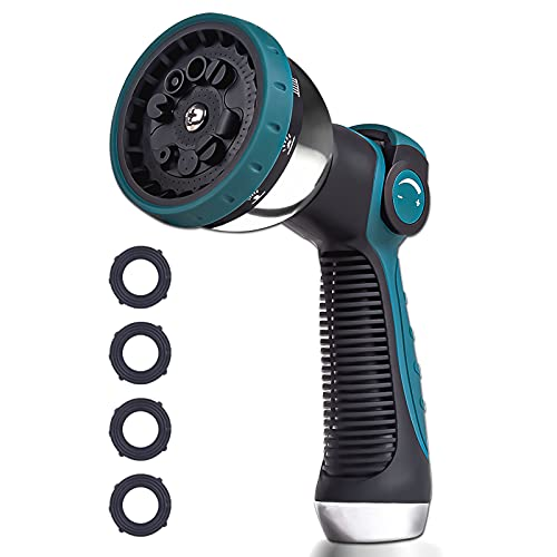 Forzolit Garden Hose Nozzle Sprayer Heavy Duty  Features 10 Spray Patterns  Thumb Control  HIGH Pressure Metal Water Hose Spray Nozzle Hand Nozzle for Garden & Lawns Watering  Car Washing& Pets
