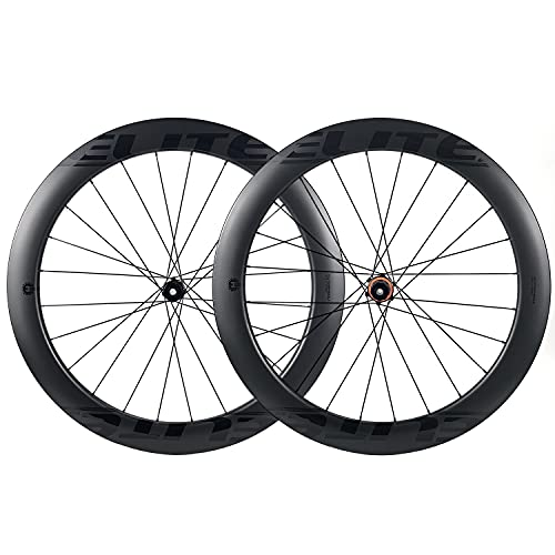 ELITEWHEELS Carbon Wheelset 700c Disc Brake 60mm Road Bike Carbon Wheels Road Cycling UD Matte Tubeless Tubeless Compatible Clincher