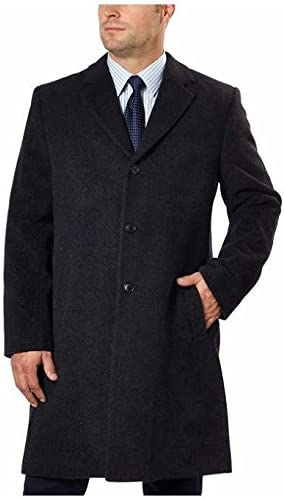 Hathaway Men's Wool Cashmere Blend Overcoat (Charcoal, 46R)