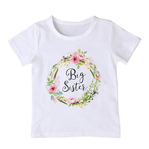 PAYLZWZY Big Sister Little SisterGroße Schwester Kleine Schwester Neugeborene Strampler Tops Weißes Hemd Schwestern Passende Outfits Kleidung Set Tee (Big Sister, Tee 130)