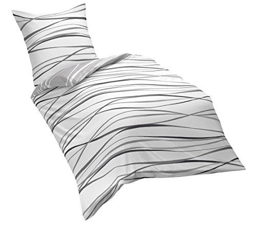 Kaeppel G-105840-49D3-VL97 Bettwäsche Motion, schiefer, Linon, 1 x 80/80 plus 155/220 cm