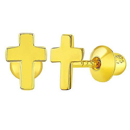 Pendientes de plata de ley 925 con forma de cruz religiosa pequeña pa