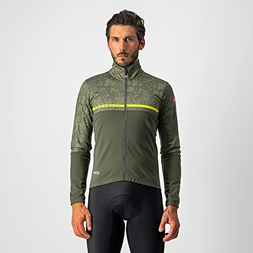 castelli FINESTRE Jacket, Giacca Uomo, Military Green/Light Military-Chartreuse, M