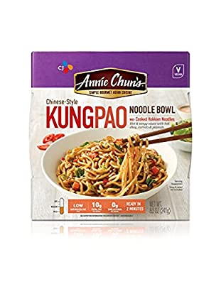 Kung Pao Noodle Bowl | Vegan, Shelf-Stable, 8.5-oz (Pack of 6), Chinese-Style Microwaveable Ready Meal