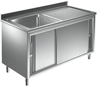 Spülschrank Edelstahl 1 Becken links 1400 x 700 x 850 mm mit Schiebetüren Gastro Spüle