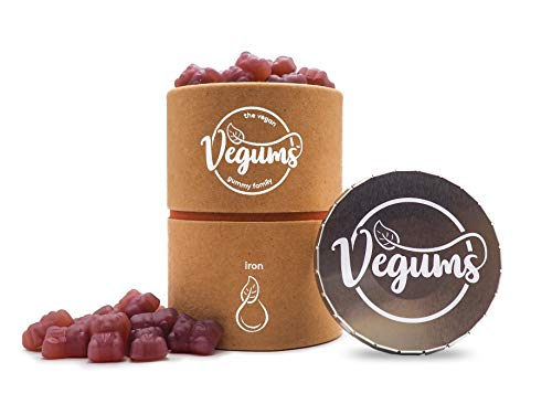 Vegums Vegan-Friendly BlackBerry-Flavoured Iron Gummy Food Supplements | 60 Gummies in Eco-Friendly Packaging with Click-Clack Carry Tin