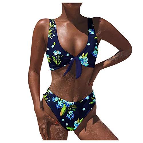 Senyounight - Conjunto de bikini de cintura alta para mujer, diseño de leopardo, con estampado floral, pequeño y estampado floral, color azul marino