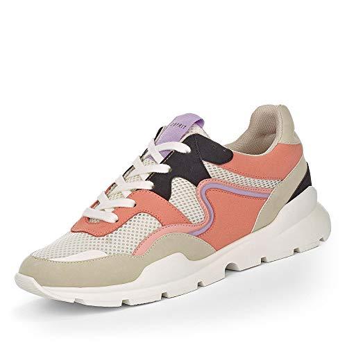 ESPRIT 039EK1W076-860 Chleo Lu Damen Sneaker aus Lederimitat mit 30-mm-Plateau, Groesse 38, beige/rosé
