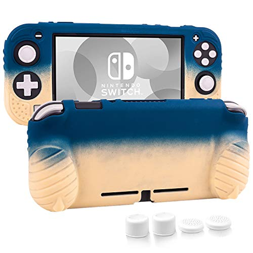 Cybcamo Grip Case for Nintendo Switch Lite, Silicone Protective Cover with Ergonomic Handles [Stands on Its Own] [2 Sets of Thumb Stick Caps] (Pastel Yellow & Blue)