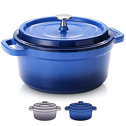 SULIVES 5 Quart White Enameled Cast Iron Dutch Oven with Lid bread baking Pot use on gas electric oven for 4-6 people(Dark Blue)