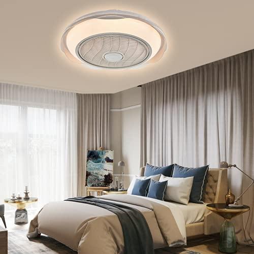 20 Zoll LED Licht Deckenleuchte + Fernbedienung 3 Farben Deckenleuchte Dimmbar Deckenventilator Leise 3 Einstellbare Windgeschwindigkeit Ventilator mit Beleuchtung für Wohnzimmer Schlafzimmer