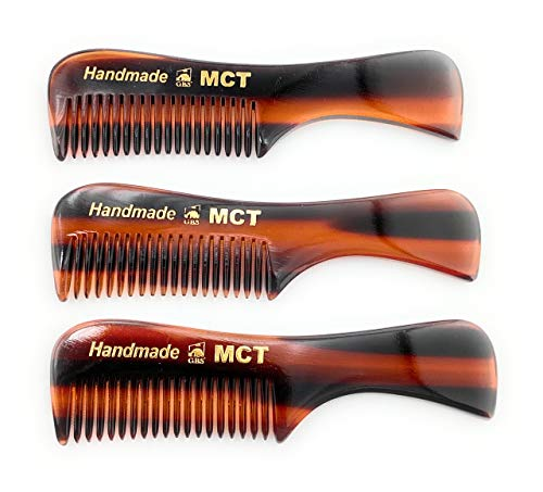GBS Beard Mustache Comb 3 pk - Extra Small. Unbreakable Fine Toothed Beard and Moustache Combs Pocket Size for Facial Hair Grooming. Hand-Made Cellulose Acetate, Saw-Cut Hand Polished 76mm