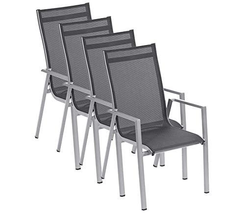Dehner Stapelstuhl Macon, 4 Stück, je ca. 101.5 x 70.5 x 63 cm, Aluminium/Textilene, schwarz/silber
