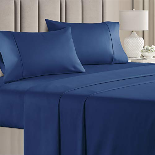 100% Cotton King Sheets Navy Blue (4pc) Silky Smooth, Cooling 400 Thread Count Long Staple Combed Cotton King Sheet Set – 400TC High Thread Count King Sheets - King Bed Sheets All Cotton 100% Cotton