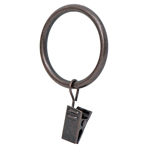 Ivilon Drapery Curtain Clip Rings - Clips Ring for Curtain Panels 1.7', Set of 14 - Oil Rubbed Bronze (ORB)