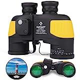 HUTACT 10x50 Marine Binoculars for Adults, Navigation Binoculars with Rangefinder & Compass, Waterproof Binoculars for Voyage Boating Sailing Waterman