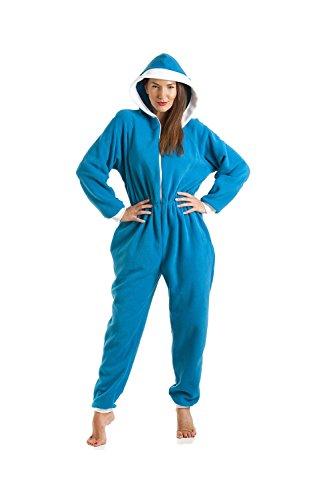 Dames slaappak eendelig fleece - Smurf Blauw - maten 38-52