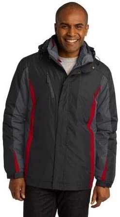 Port Authority Men's Polyester Colorblock 3-in-1 Jacket, L, Black/Grey/Red