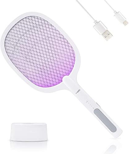 HYJWYAS Switter de Vuelo eléctrico 2 en 1 Mosquito eléctrico con Base de Carga USB Mosquito eléctrico Trampa con luz UV para Mosquitos Mosca Mosta Polillas de Abejas