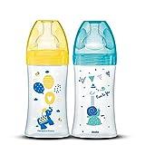 DODIE Lot de 2 Biberons Anti-Colique Sensation+ (2x270 mL) - Tétine Plate, Débit 2, Sans BPA - 0-6 mois – Jaune et Bleu
