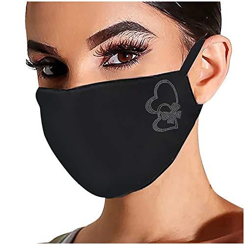 DoeRal Schwarzer schützender Mund und Nase Atmungsaktive waschbare Gesichtsbedeckung (#1-BN)
