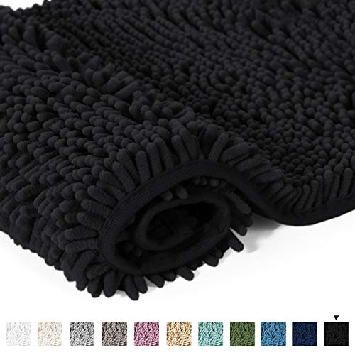20x32 Bath Mat Non-Slip Bathroom Rug Shag Shower Mat Machine-Washable Bath Mats with Water Absorbent Soft Microfibers Chenille Plush Rugs - Black