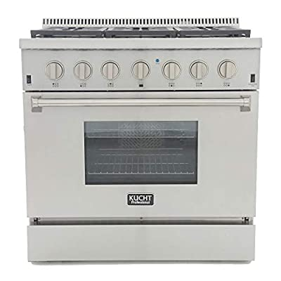 """Kucht KRD366F-S Professional 36"""" 5.2 cu. ft. Dual Fuel Range for Natural Gas, Stainless-Steel, 36 inches, Classic Silver"""