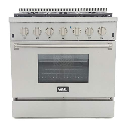 Kucht KRD366F-S Professional 36' 5.2 cu. ft. Dual Fuel Range for Natural Gas, Stainless-Steel, Classic Silver
