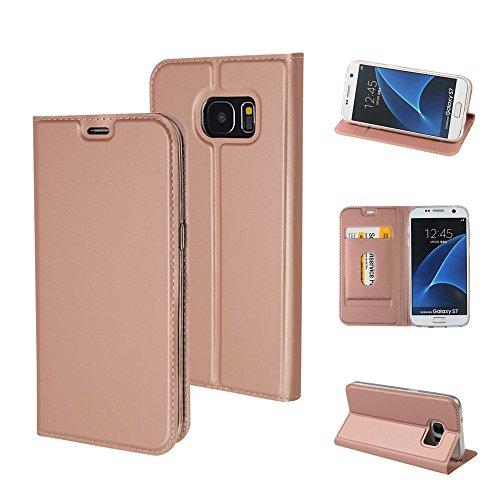 MTRONX für Samsung Galaxy S7 Hülle, Magnetisch Folio Flip PU Leder Weich TPU Case Cover Handyhülle Schutzhülle Tasche Etui mit Ständer und Kartenfach - Roségold (MA-RG)