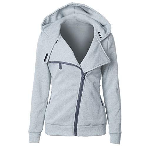Genmoral Oblique - Felpa da donna con zip e tasca - grigio - Medium