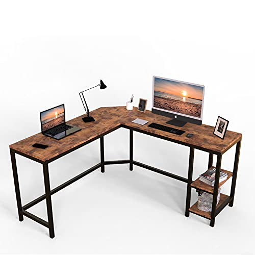 54-Inch Computer Desk, L-Shaped Corner Desk, Office Study Workstation with Shelves, Industrial Style PC Laptop Table, Space-Saving, Easy to Assemble, Rustic Brown