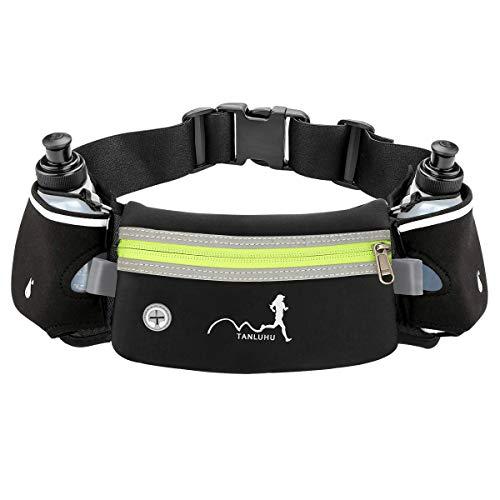 Cintura da corsa con borracce (2 x 175 ml), cintura di idratazione Marsupio impermeabile adatto per iPhone Custodia sportiva regolabile per maratona, escursionismo, ciclismo