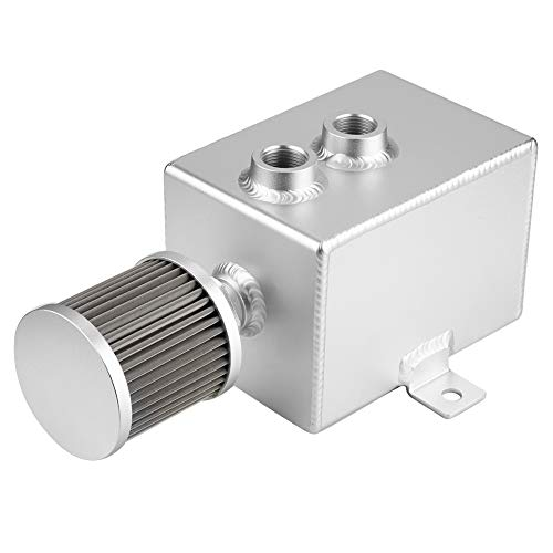 Odpowietrznik puszki olejowej, 2-litrowy zbiornik zbiornika oleju samochodowego Stop aluminium z filtrem odpowietrzającym Zmodyfikowany uniwersalny (srebrny)