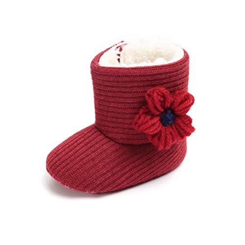 Botas de Ganchillo Lana Bebé Invierno Soft Sole Crib Caliente Patucos de Niñas Algodón con Flor (12-18 Meses, Roja)