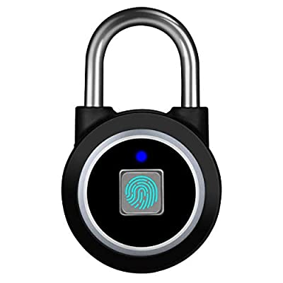 Fingerprint Padlock, Bluetooth Lock, Mobile APP, MEGAFEIS Smart Padlock with Keyless Biometric, Water Resistant, Suitable for Gym, Sports, Bike, School, Fence and Storage(Black)