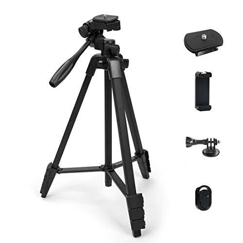Phinistec 137cm Aluminium Handy Stativ für Kamera, iPhone, Smartphone, Gopro, Projektor mit Handy Halterung und Bluetooth Fernauslöser und Gopro Adapter mit Tragetasche (Schwarz)