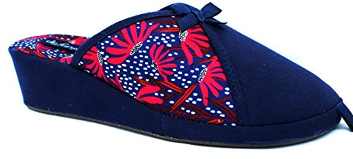 de fonseca Ciabatte Pantofole Cotone Donna MOD. Palermo E W700 Blu (Numeric_36)