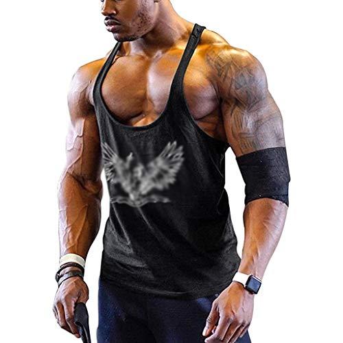 WYNZYYX - Camiseta de tirantes para hombre, gimnasio, musculación, culturista, sin mangas, estampada, para correr, deportiva, color C, tamaño large