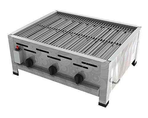 ChattenGlut Professional Gastrobräter 3-flammig - freistehendes Tischgerät aus Edelstahl mit Stahlbrenner - 10,8 kW, regelbar für Flüssiggas, mit Rost, 650x530x270 mm, Gewerbe Qualität