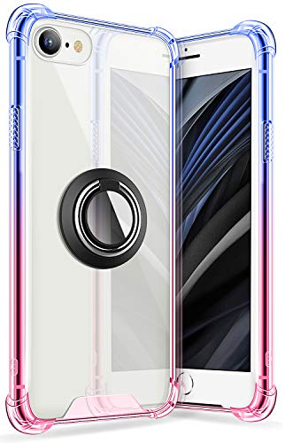 iPhone SE 2 Case 4.7 Inch 2020, SANKMI Rugged Protective Clear Ring Kickstand and Work with Magnetic Car Mount Colorful Case for iPhone SE 2nd Generation iPhone 8 iPhone 7(Blue Pink)
