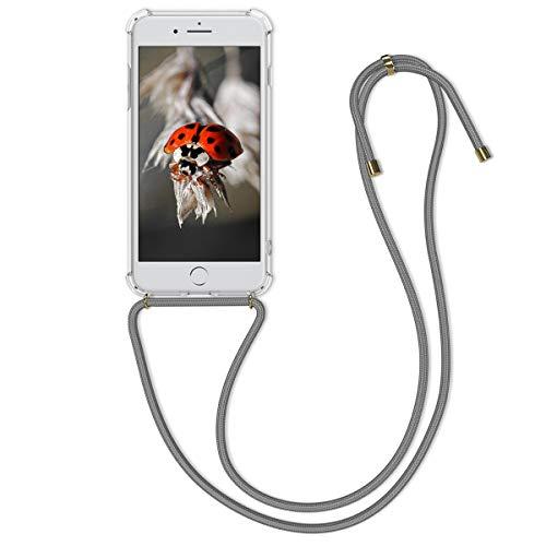 kwmobile Carcasa con Cuerda Compatible con Apple iPhone 7 Plus / 8 Plus - Funda Transparente de TPU con Cuerda para Colgar en el Cuello