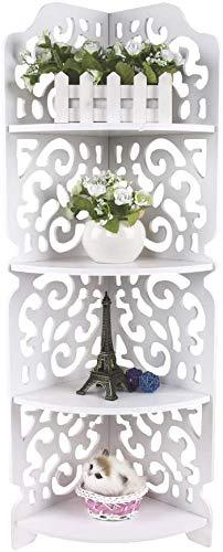 Greensen Regal Eckregal Stehregal Standregal Eckstand Bücherregal Wandregal mit 4 Ablagen Geschnitzt Hohl Eckablage für Wohnzimmer Badezimmer Toilettenartikel Weiß 22cm x 18cm x 80cm