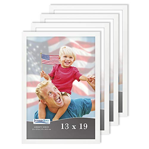 Icona Bay 13x19 Frames (White, 4 Pack), Sturdy Wood Composite Frames (not PS Plastic), Modern Style Frames, Liberty Collection