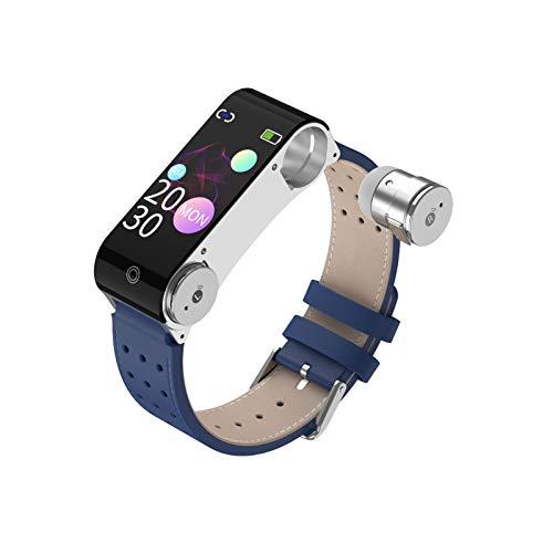 Akin Reloj inteligente con auriculares Bluetooth 2 en 1 con 3D estéreo monitor actividad física medición temperatura frecuencia cardíaca monitor presión arterial reloj smart deportivo 14 días espera