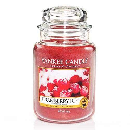 Yankee Candle Cranberry Ice Candele in giara Grande, Rosso, 10.1x9.8x17.7 cm, fragranze naturali