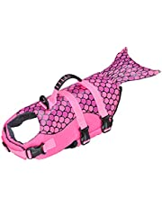 Songway Chaleco salvavidas para perro, traje de baño de protección, rayas reflectantes, traje de baño ajustable, chaleco de flotación de alta visibilidad para playa piscina barco (sirena, L)