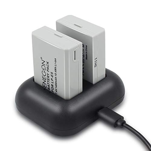 ENEGON Batería de Repuesto (Paquete de 2) y Cargador rápido rápido para Canon LP-E5 y...