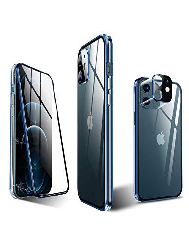 KumWum Magnetico Custodia per iPhone 12 Original 360 Gradi Cover Trasparente Temperato Vetro Protezione with Bordo Metallo Bumper Barra di miglioramento del Segnale, Blu + Argento