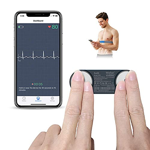 ECG Portatile Elettrocardiogramma, ViATOM Monitor ECG con Fascia Toracica, APP Compatibile con iOS e Android, Monitoraggio 30s -15min, Monitor ECG Portatile Bluetooth per Uso Domestico (Nero)